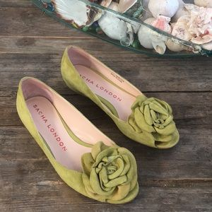 Anthropologie Sacha London chartreuse suede flats